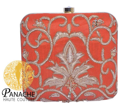 Zardozi Bridal Clutch in Orange Color