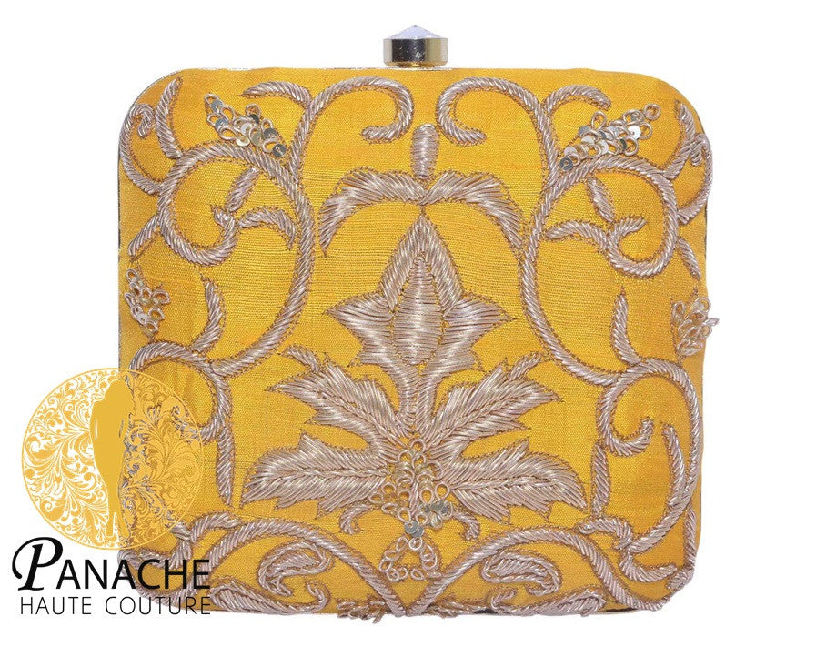 Zardozi Bridal Clutch in Yellow Color
