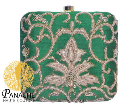 Zardozi Bridal Clutch in Green Color