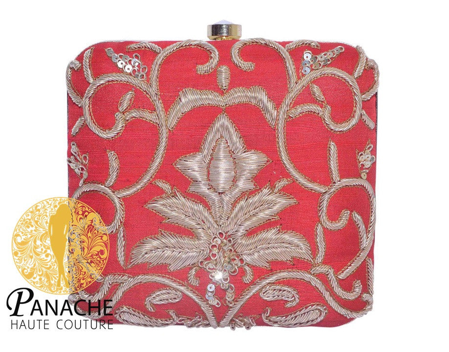 Zardozi Bridal Clutch in Red Color