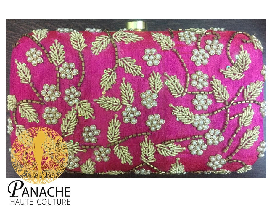 Hot Pink Color Bridal Clutch With Pearls Embroidery