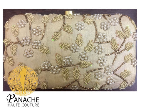Ivory Color Bridal Clutch With Pearls Embroidery