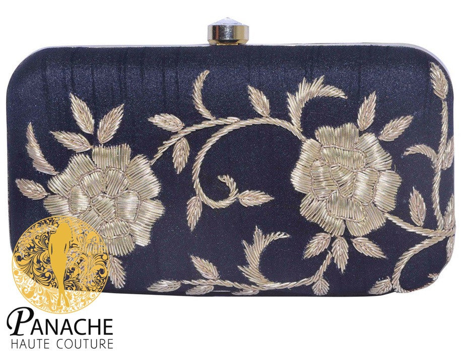 Black Color Clutch in Zardozi Embroidery in Dabka
