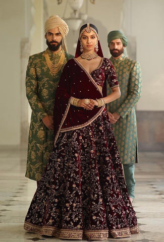 d112b5bc25 Sabyasachi Inspired Dark Burgandy Wedding Lehenga