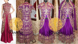 Dark majenta long jacket lehenga for Reception