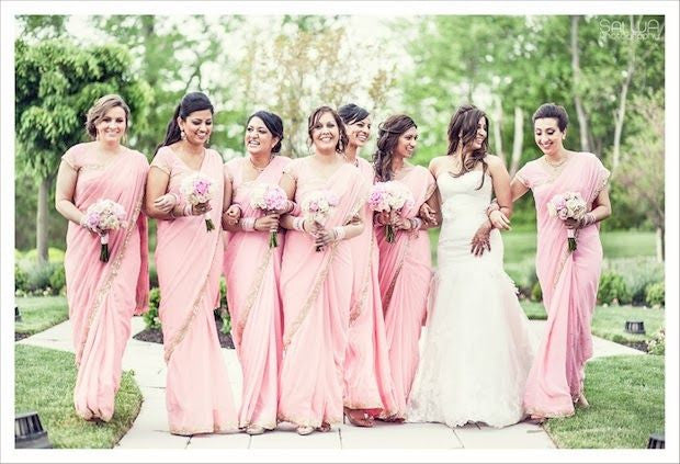 Bridemaids in baby pink sarees