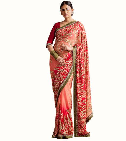 Peach and Red Color Wedding Saree