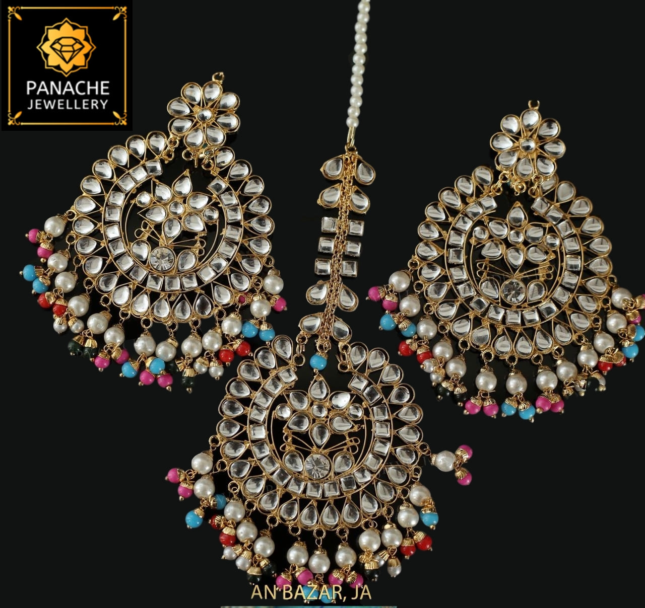Kundan and Polki High Quality Multicolor Earrings with Maangtikka