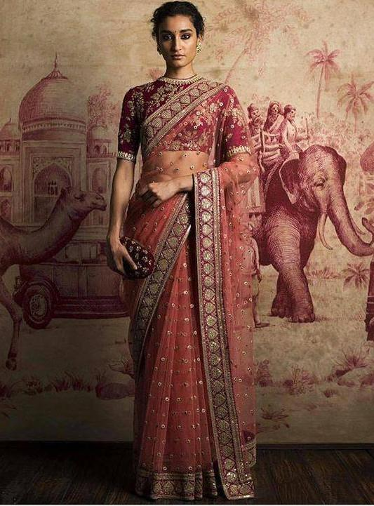 Coral Red Color Net Saree