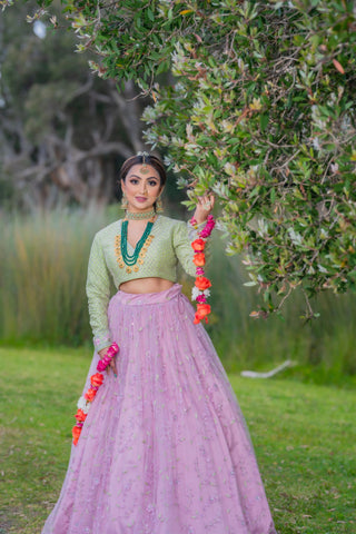 Dazzling Sweet lilac embroidered Partywear lehenga with frill border dupatta