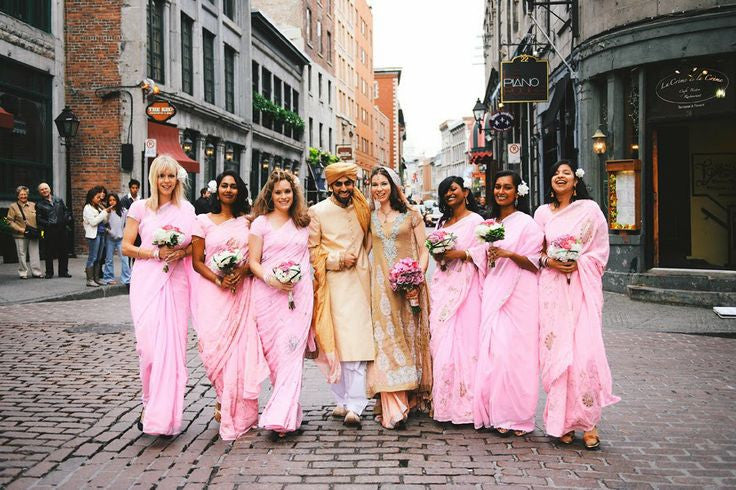 Bridemaids in Pink color sarees