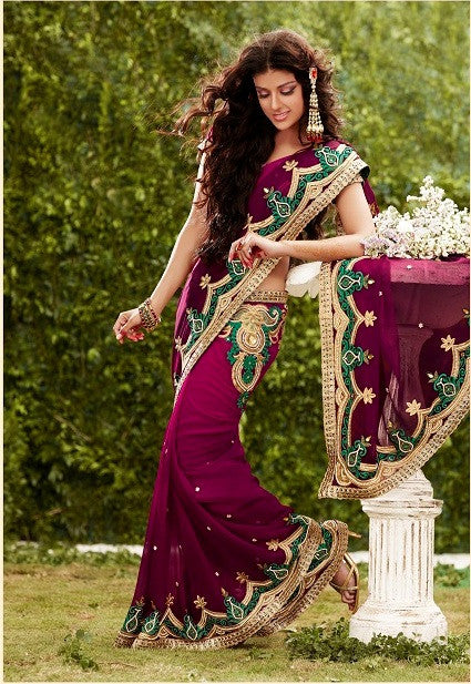 Purple color shaded saree