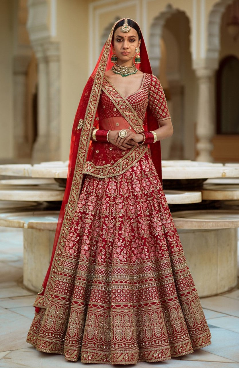 Sabyasachi Inspired Fuschia Color Wedding Lehenga Set