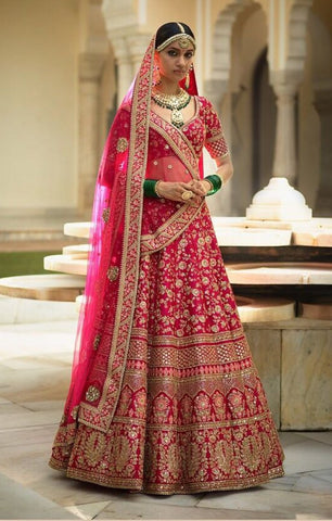Sabyasachi Inspired Fuschia Color Wedding Lehenga Choli
