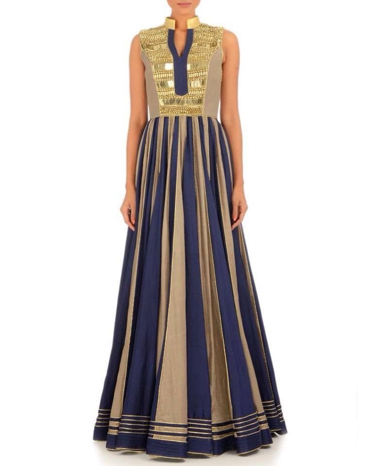Blue color Long Anarkali dress