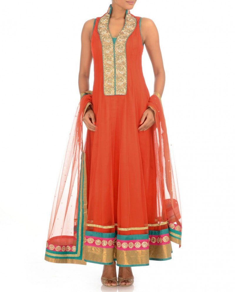 Orange color anarkali suit