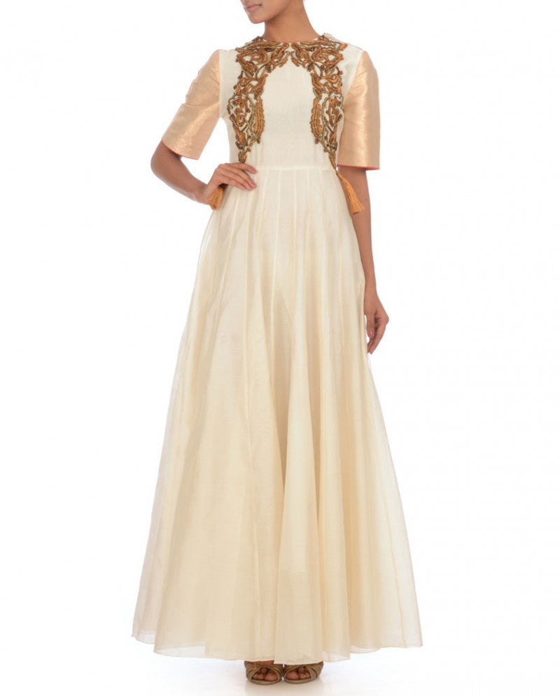 Long anarkali suit in white color