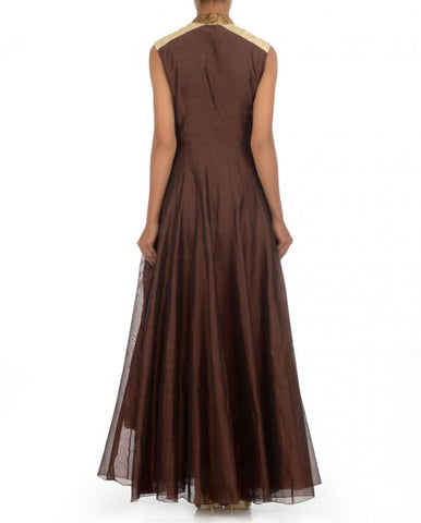 Dark brown long anarkali gown