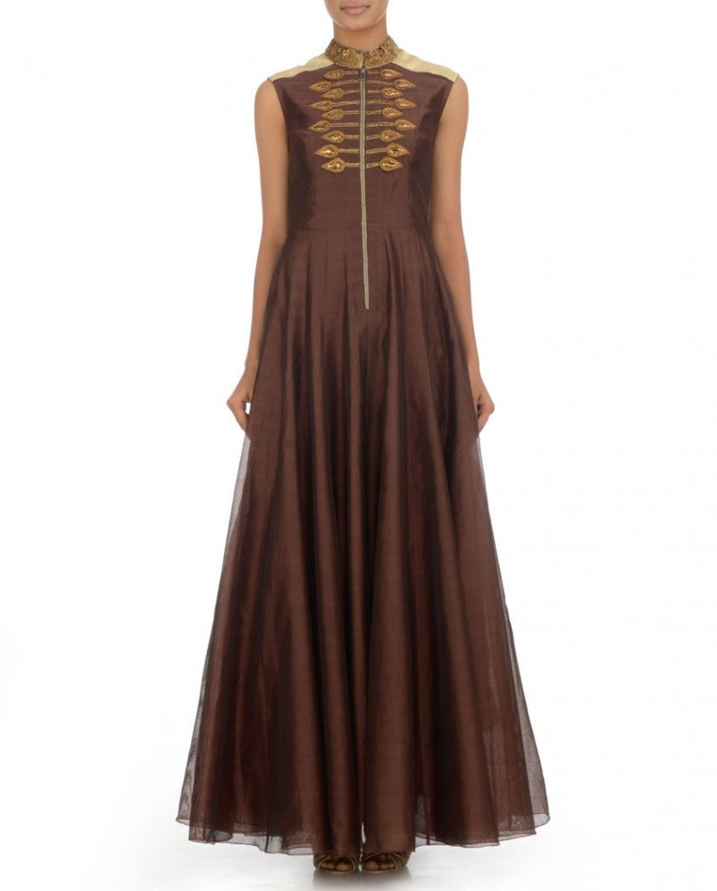 Dark brown long anarkali