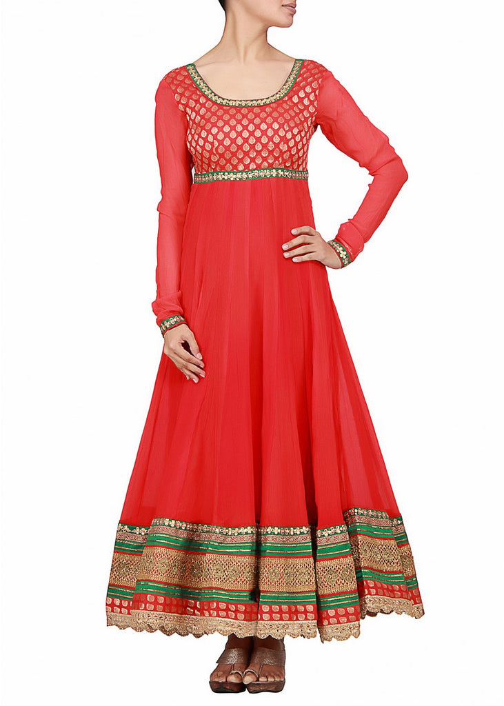 Red color beautiful anarkali suit