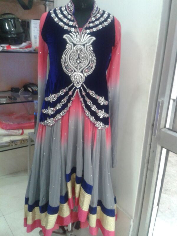 Grey & pink anarkali suit cum lehenga