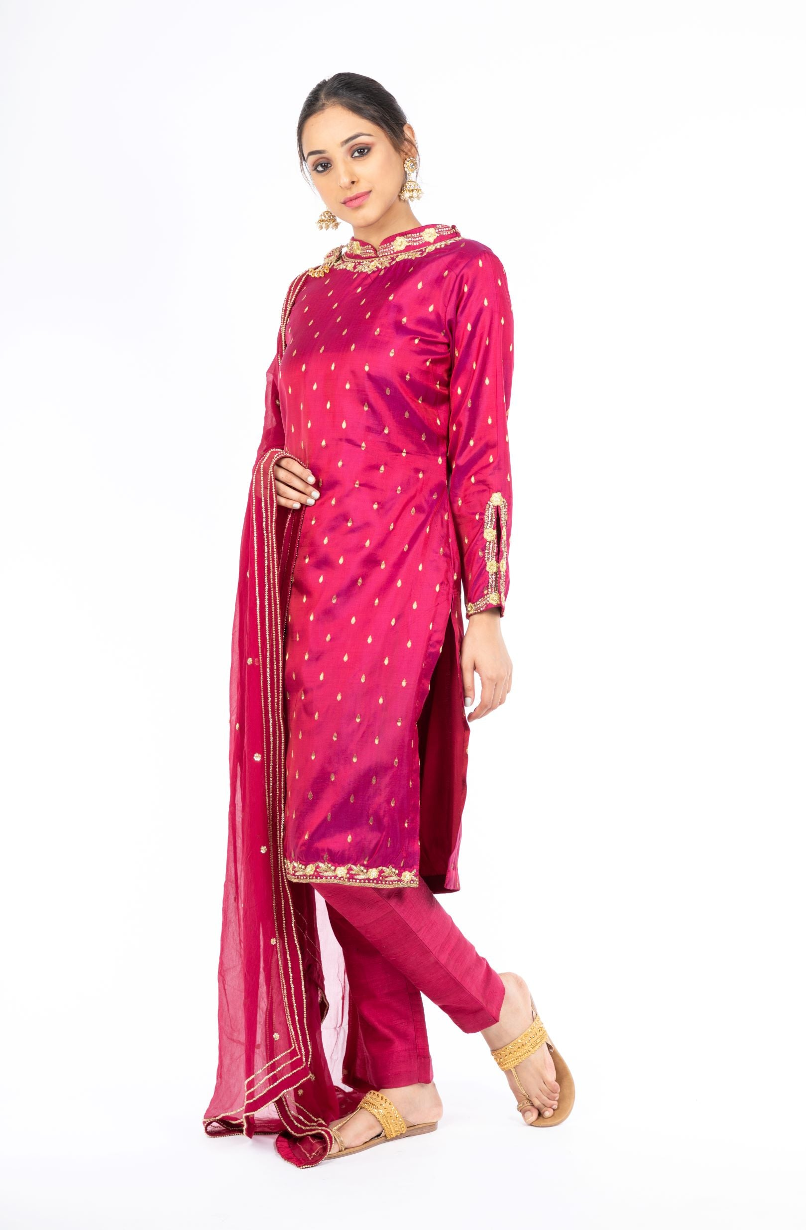 Adorable Pomegranate Red Pure Silk Salwar Kameez