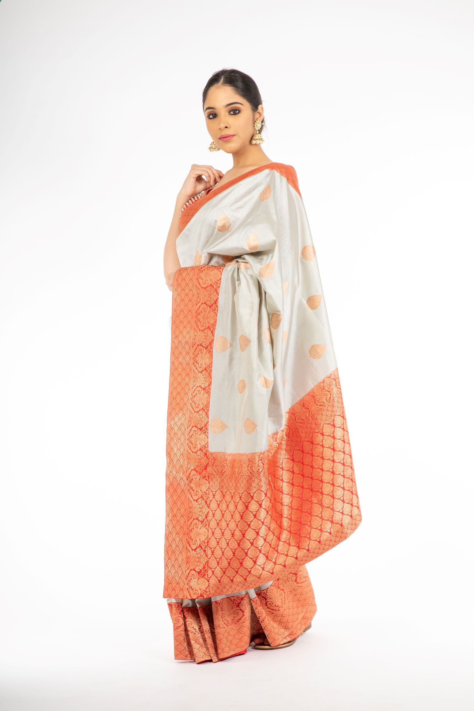 Adorning Grey Handloom Banarasi Silk Saree with Red Color Pallu