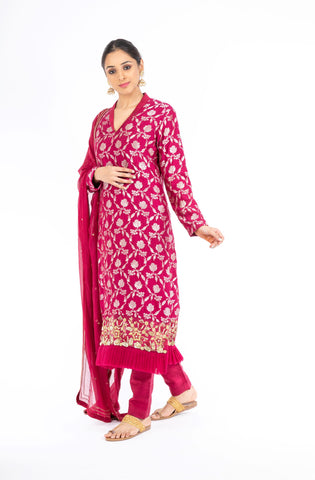Adorning Rubine Red Palm Silk Salwar Kameez