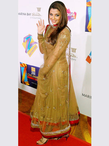 Aishwarya rai's dark beige color anarkali suit