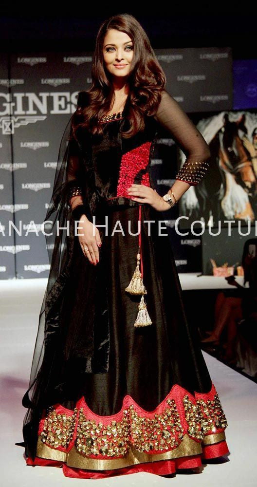 Aishwarya Rai in Black Party Wear Lehenga Online by Panache Haute Couture