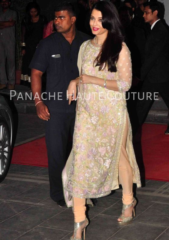Aishwarya Rai in Champagne Color Designer Suit
