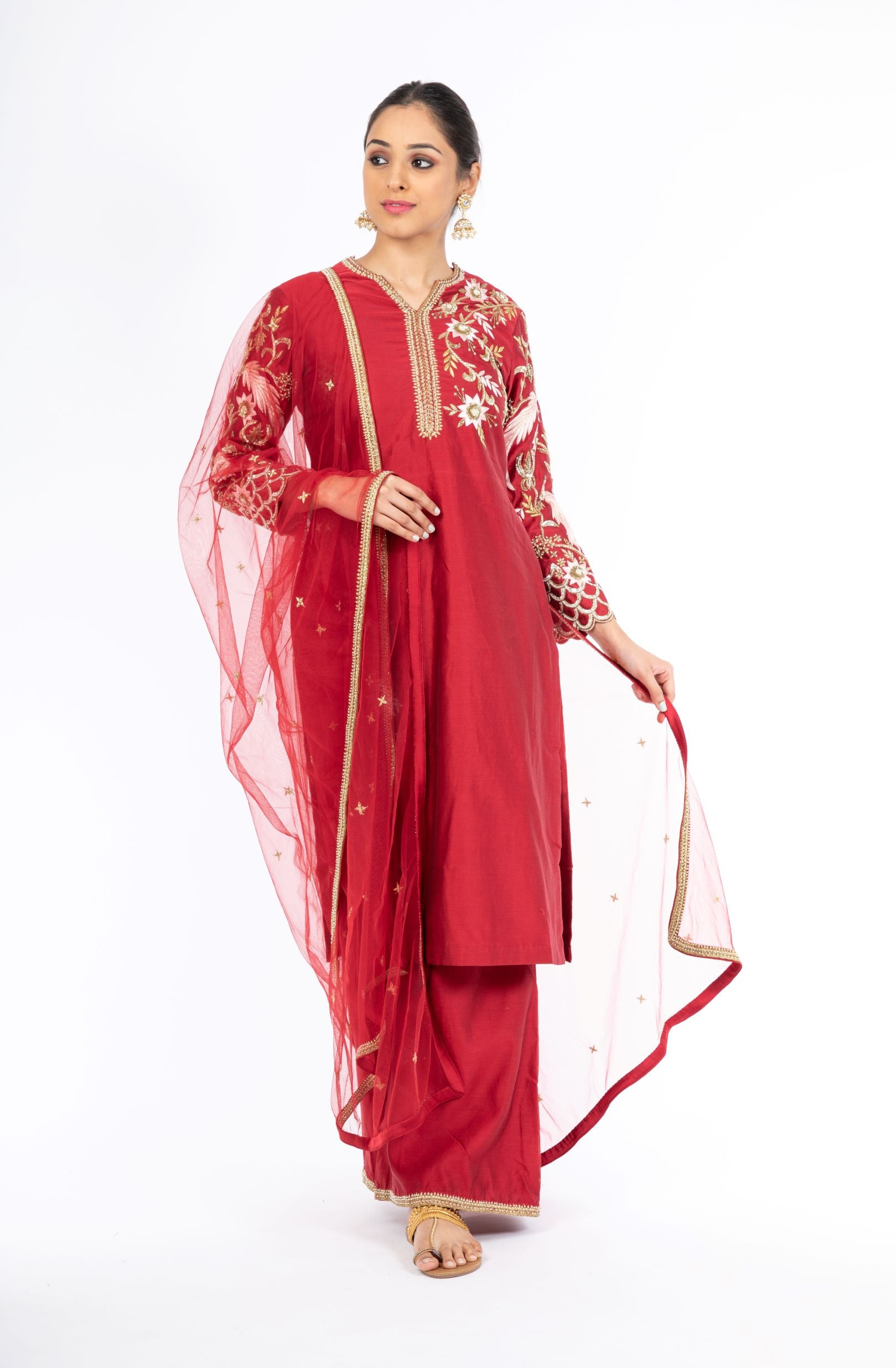 Alluring Deep Red Chanderi Silk Salwar Kameez with Net Dupatta