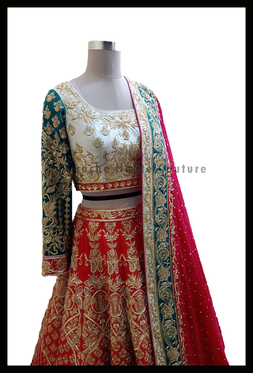 Alluring Red lehenga Set Paired With Fuchsia Pink Dupatta