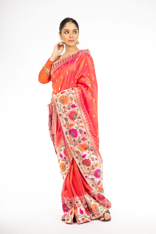 Alluring Orange and Red Double Shaded Paithani Weaving Banarasi Saree
