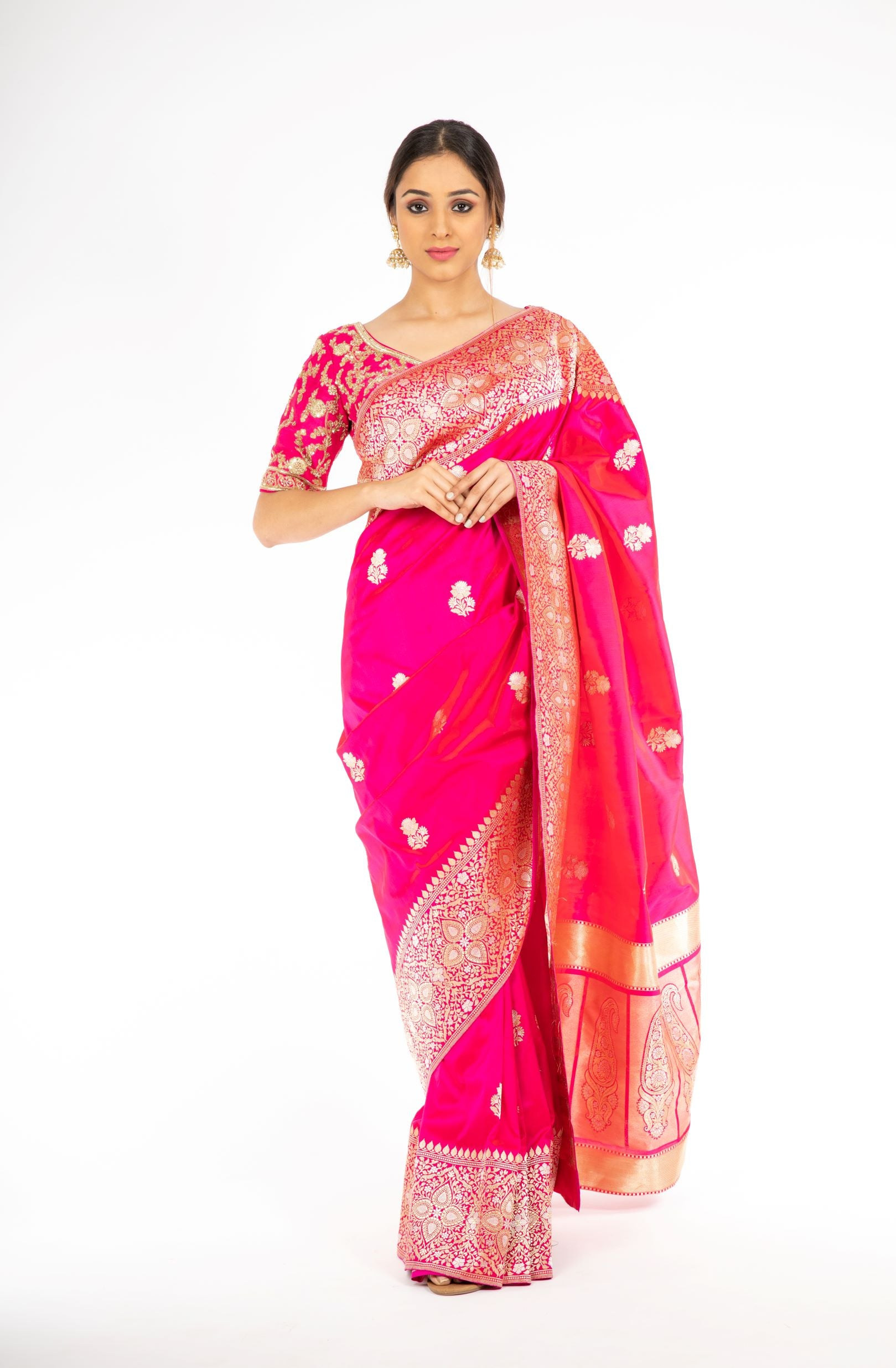 Amazing Pink Color Kadwa Weaving Handloom Saree from Panache Haute Couture