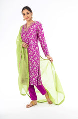 Amazing Purple Color Palm Silk Salwar Kameez