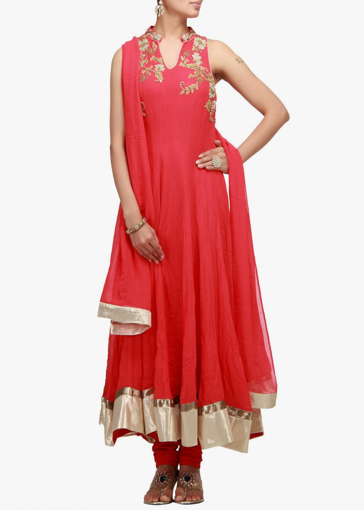 Red color sober anarkali suit