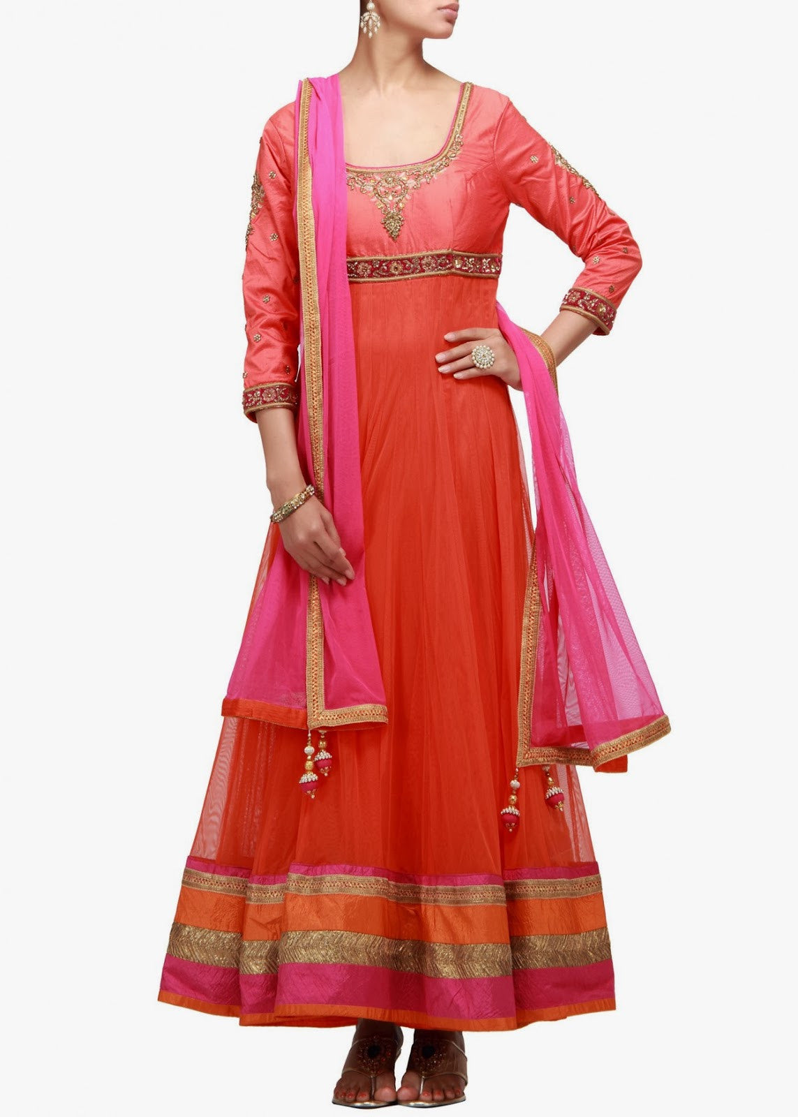 orange color anrkali suit with silk yoke