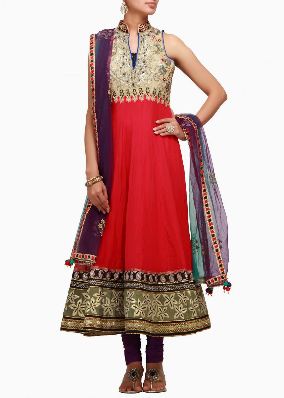 high neck red color anarkali suit