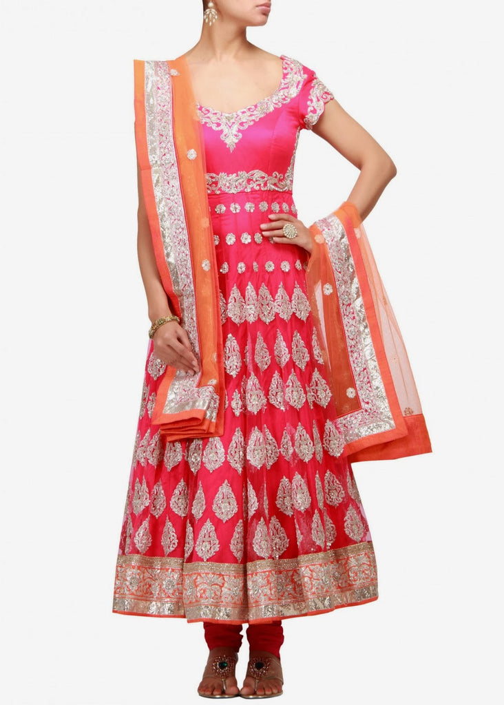 Pink color anarkali salwar kameez with orange dupatta