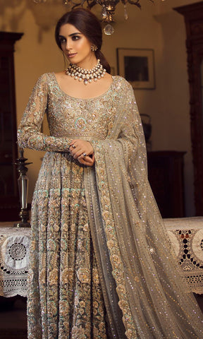 Grey Color Wedding Anarkali Gown in USA, Australia