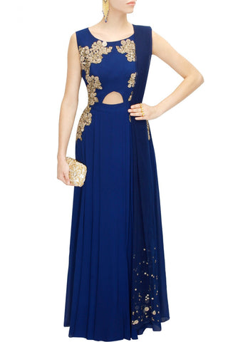 Aneesh Aggarwal blue colour cut out anarkali