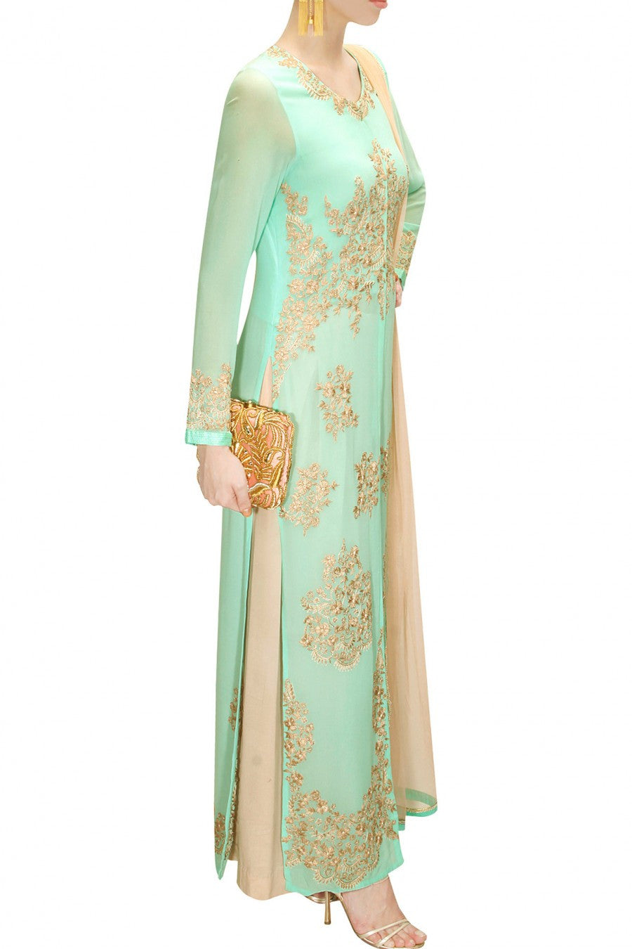 Aneesh Aggarwal light green kurta set