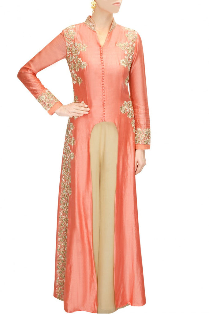 Aneesh Aggarwal peach colour kurta set