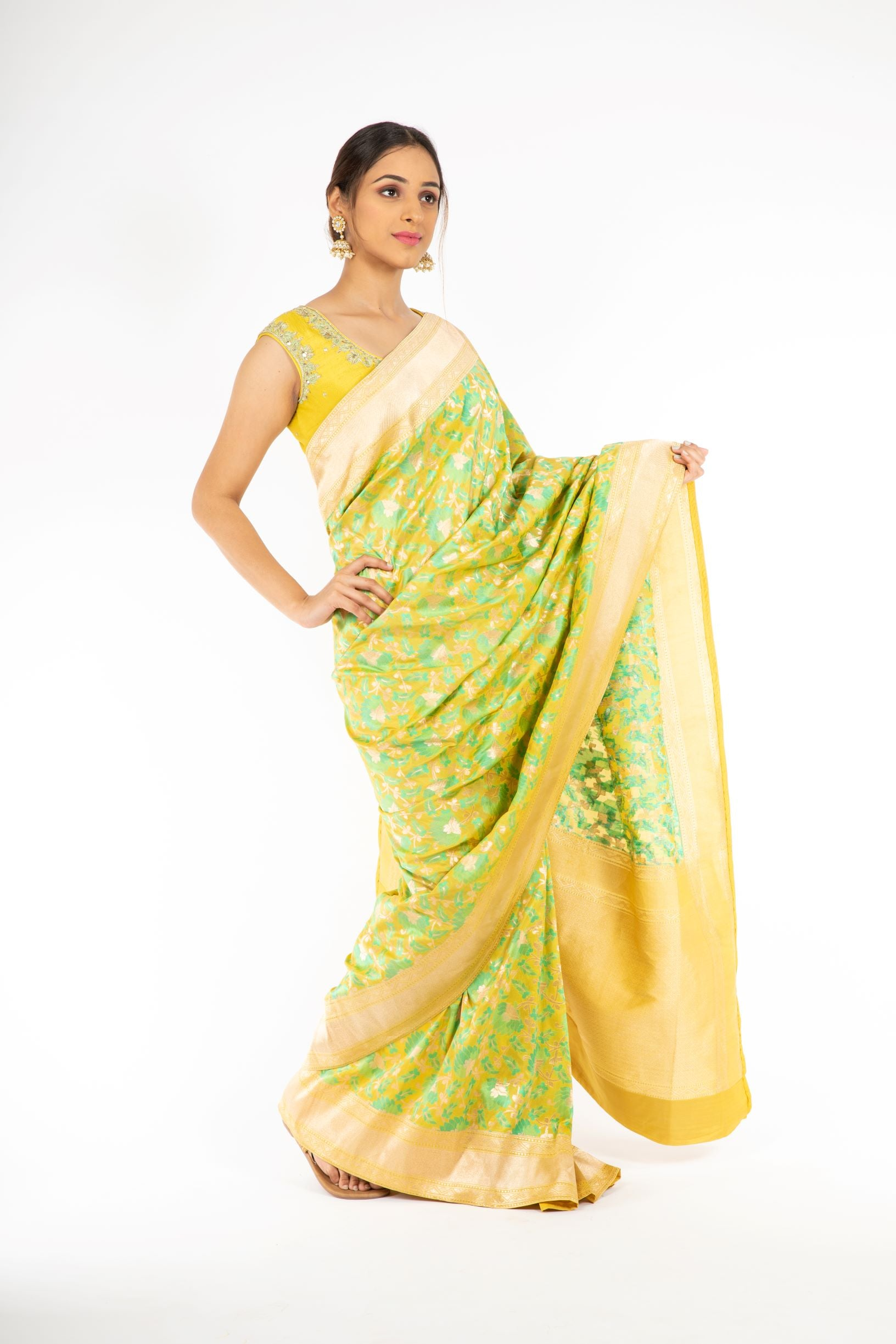 An Elegant Yellow Color Banarasi Handloom Silk Saree from Panache Haute Couture