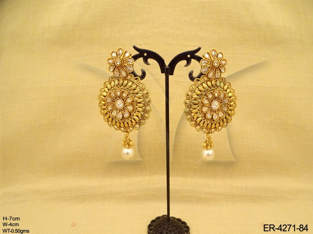 Kundan and Pearl Antique Earrings