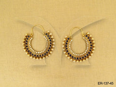 Hoop Diamond and Pearl Polki Earrings
