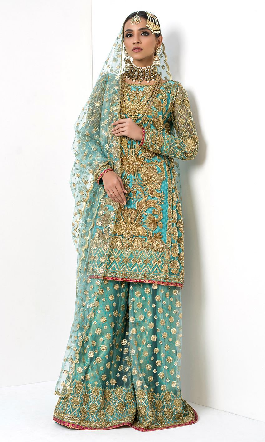 Aqua Color Wedding Sharara