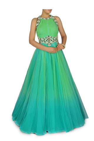Aqua blue and green shaded Indo Western Bridal gown