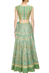 Aqua color Bridal Lehenga Choli